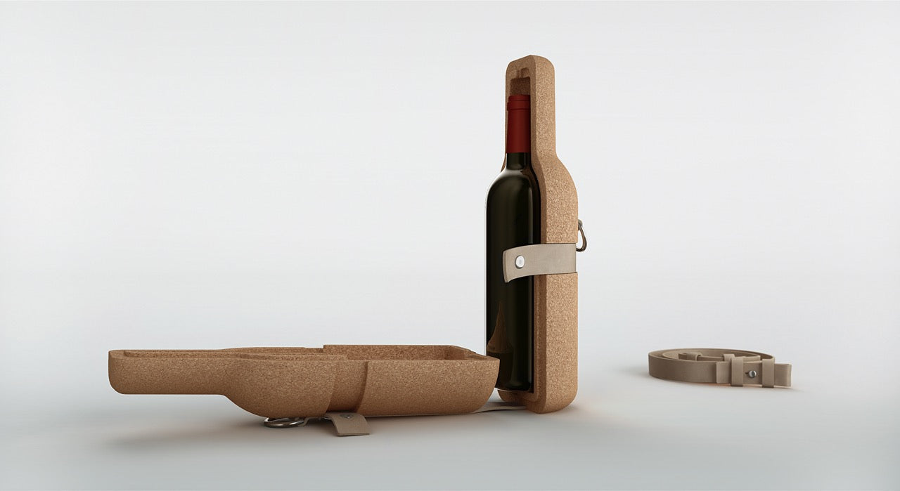 recycled leather wine carrier