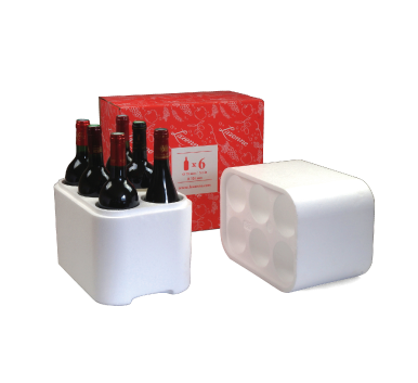 6 bottle classic wine bottle polystyrene shipper