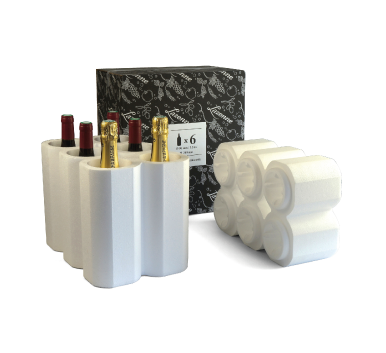 6 bottle wine styrofoam shipping box for Champagne/Burgundy type bottles