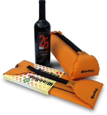 WineHug for one or two wine bottles suitcase protection