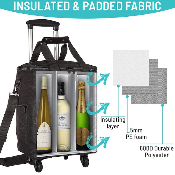 Wine Cooler Bag For 6 Bottles With Insulated And Removable Dividers Lazenne