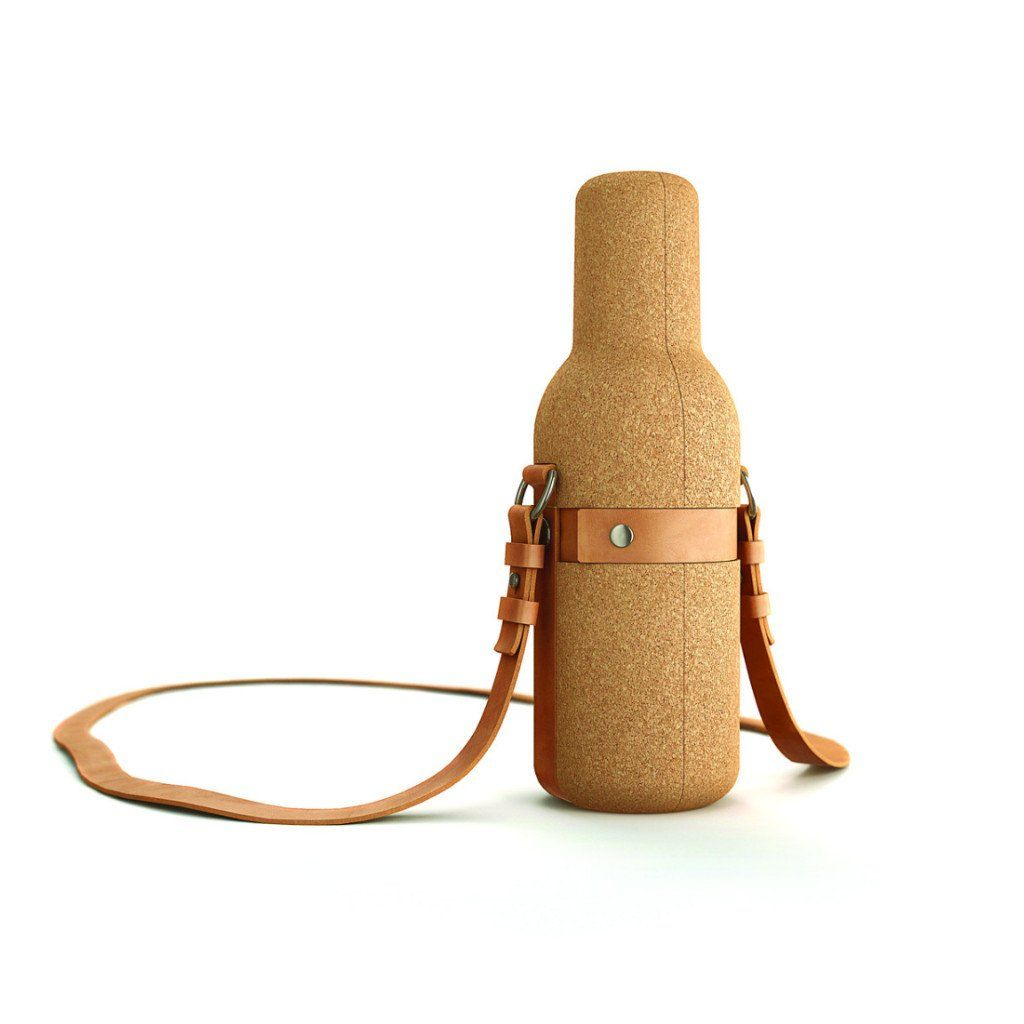 Bottle Protector Pouches - BIWINE CORK WINE BOTTLE CARRIER WITH LEATHER SHOULDER STRAP