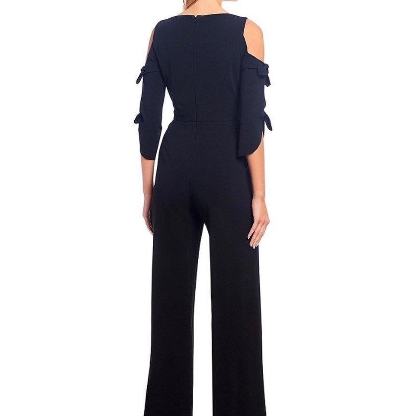 Donna Morgan Tie Sleeve Cold Shoulder Crepe Jumpsuit