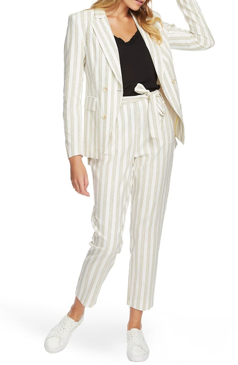 1. State Duet Modern Striped Tie Waist Tapered Pants