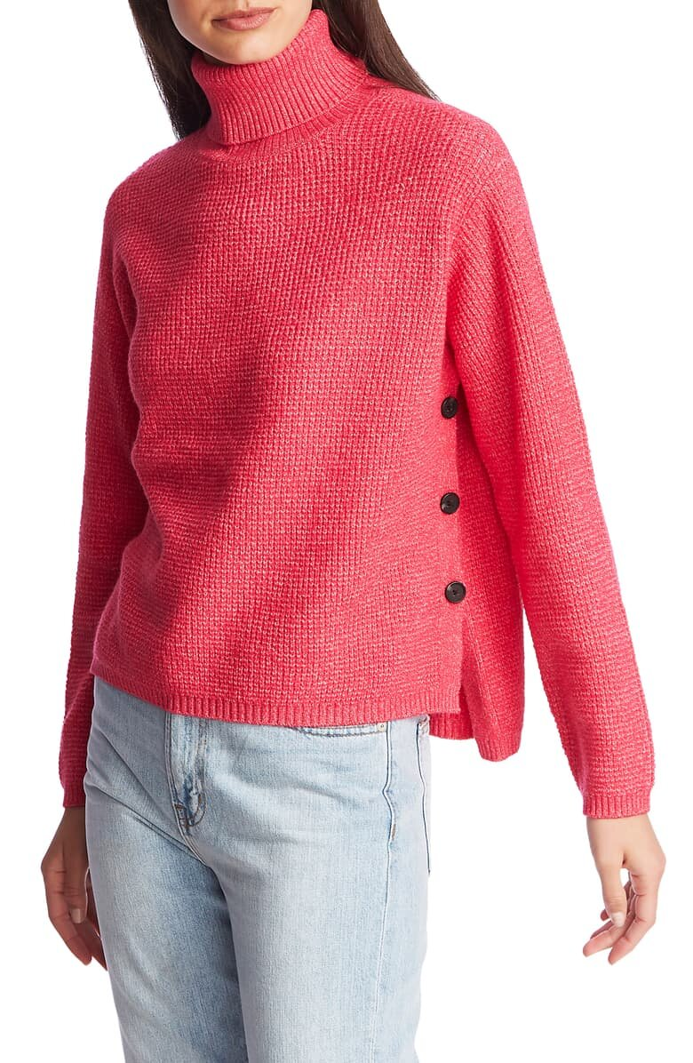 1. State Side Button Waffle Weave Turtleneck Sweater