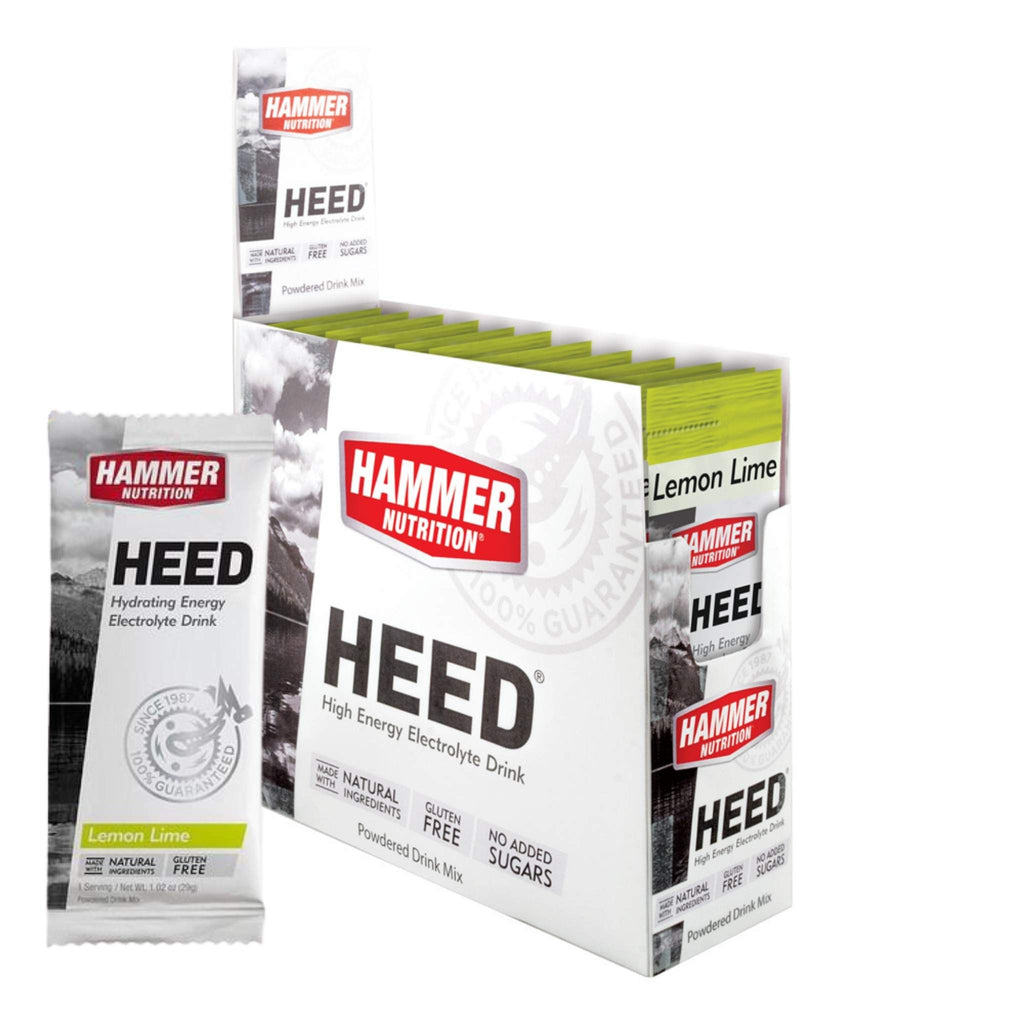 Hammer Nutrition - Box of 12 Single Packs, HEED, Lemon Lime, Team Perfect