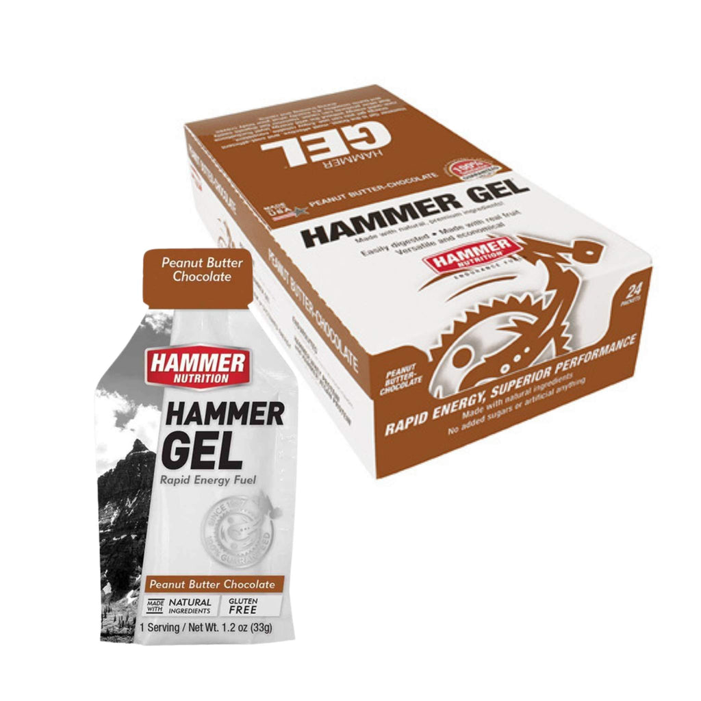 Hammer Nutrition Endurance Gel, Box of 24, Peanut Butter Chocolate, Team Perfect