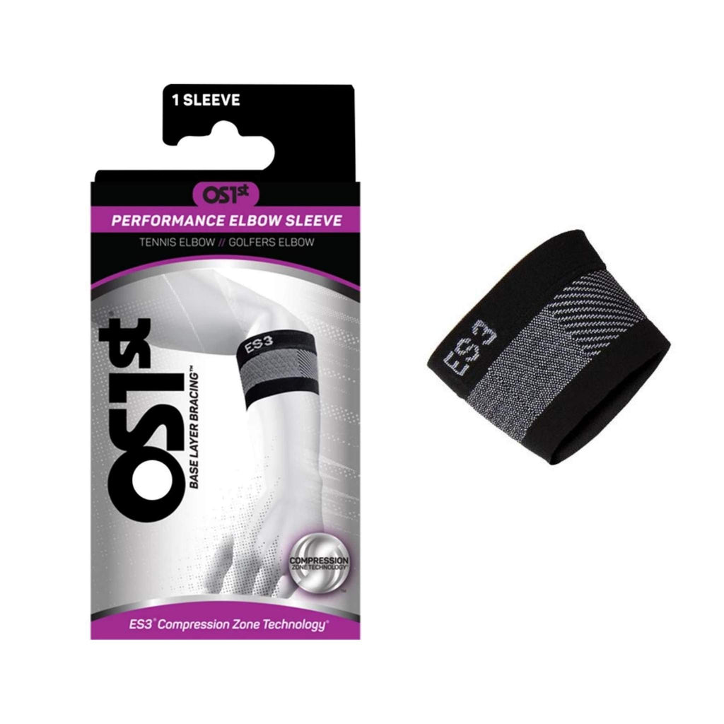 OS1st - ES3 Performance Elbow Sleeve, Black, Shown with Packaging, Team Perfect