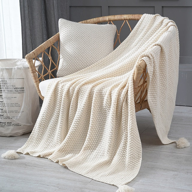 Hand-Knitted Throw Blanket