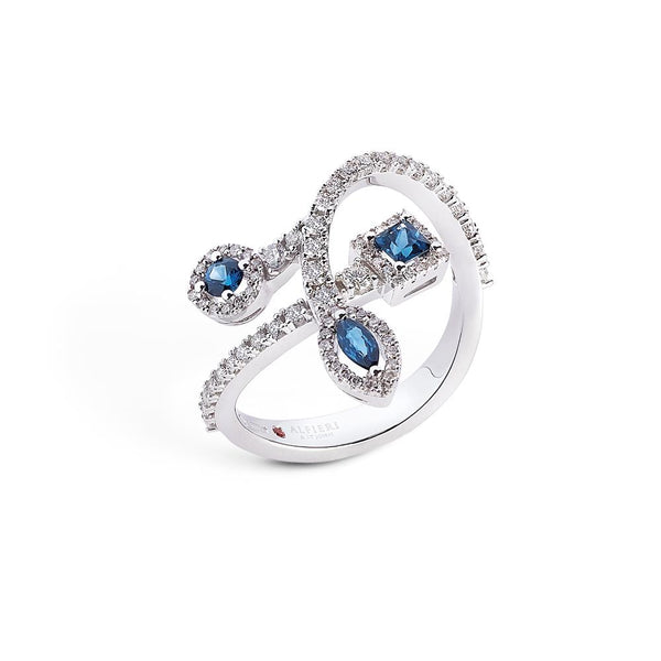 18 kt white gold ring with precious stones and diamonds