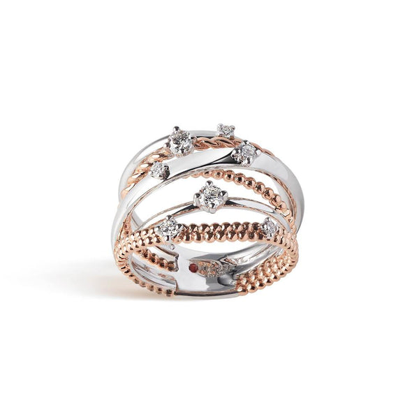 Intertwined bandring in 18 kt white and rose gold set with seven diamonds