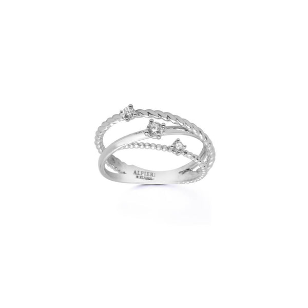 Intertwined bandring in 18 kt white gold set with hree diamonds