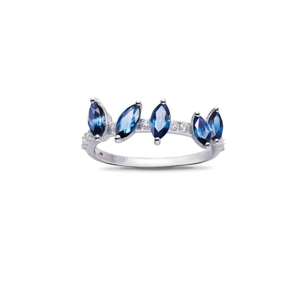 WHITE GOLD RING WITH SAPPHIRES AND DIAMONDS