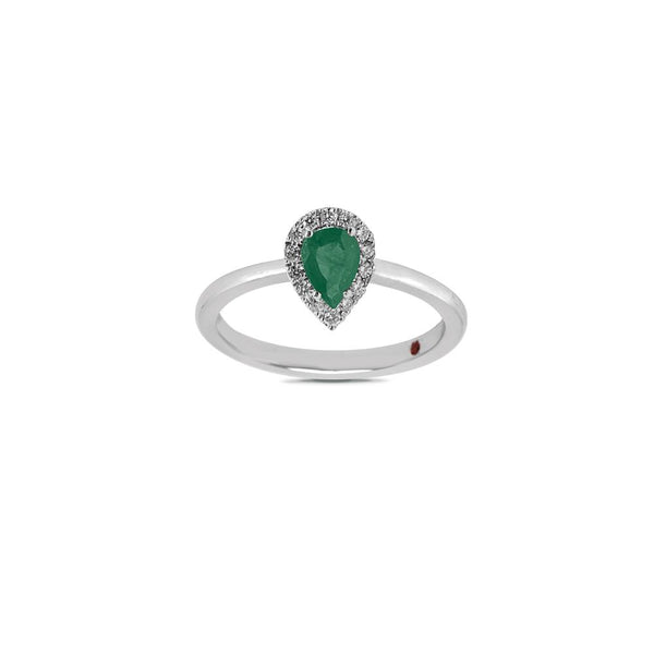 WHITE GOLD RING WITH DIAMONDS AND PEAR CUT EMERALD