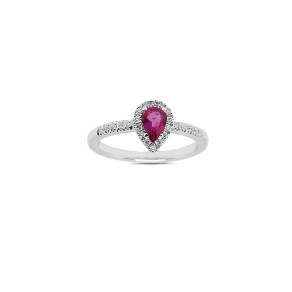 WHITE GOLD RING WITH DIAMONDS AND PEAR CUT RUBY