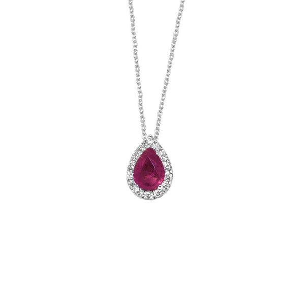 WHITE GOLD PENDANT WITH DIAMONDS AND PEAR CUT RUBY