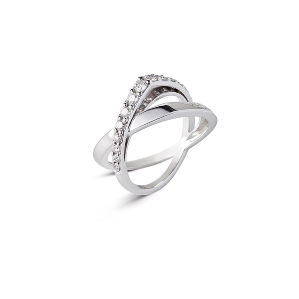 Intertwined ring in 18 kt white gold set with diamonds