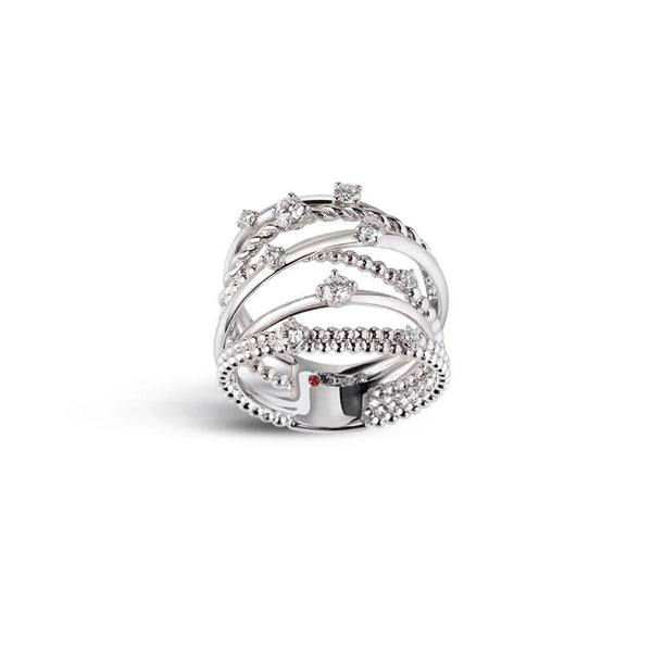 Intertwined bandring in 18 kt white gold set with nine diamonds