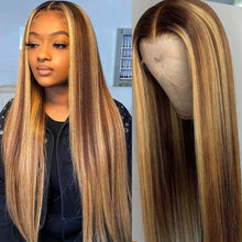 Load image into Gallery viewer, Highlight Wig Human Hair Lace Wigs Ombre Straight 28 30 Inch Wig Honey Blonde 13x1 Hd Full Highlight Lace Front Human Hair Wigs