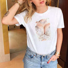 Load image into Gallery viewer, Lus Los New women's fashion spoof personality chest print fun casual summer short-sleeved Harajuku lshort women's T-shirt tops