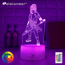 Load image into Gallery viewer, New 3d Led Night Light Uchiha Sasuke Figure Color Changing Nightlight for Kids Bedroom Decor Touch Sensor Table Lamp Naruto Gift