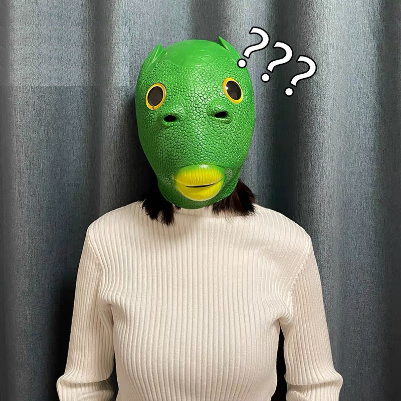 LeadingStar Halloween Funny Cosplay Costume Mask Unisex Adult Carnival Party Green Fish Head Mask Headgear