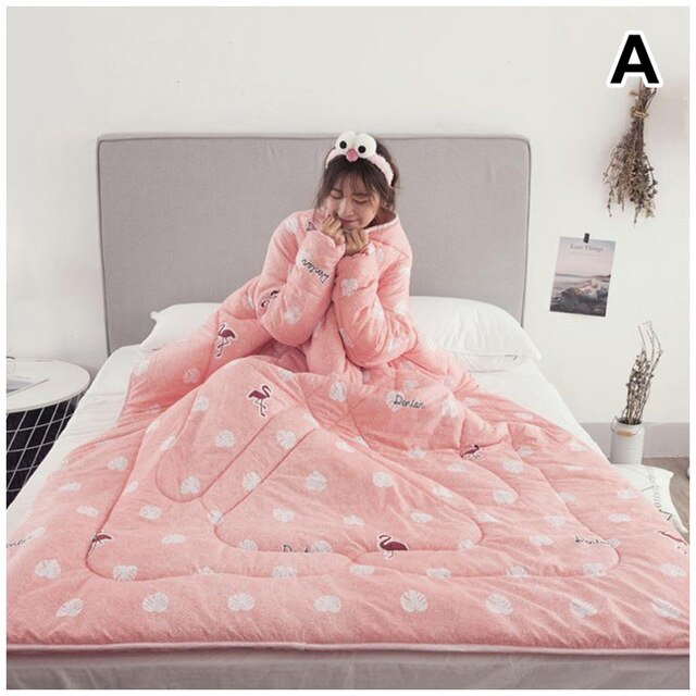 1 Pcs Lazy Quilt With Sleeves Warm Thicken Blanket Multifunction For Home Winter Nap DTT88