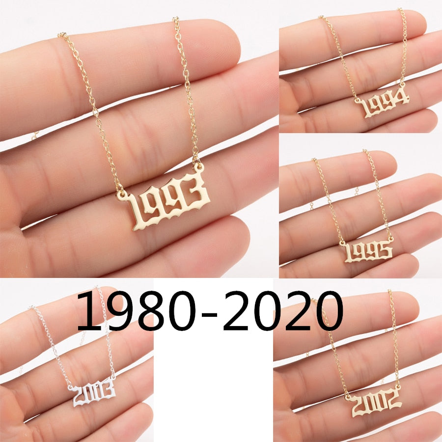 Oly2u 1980-2020 Year Number Necklaces Stainless Steel Gold Color Custom Birth Year Pendant Necklaces Friends Gifts Wholesale