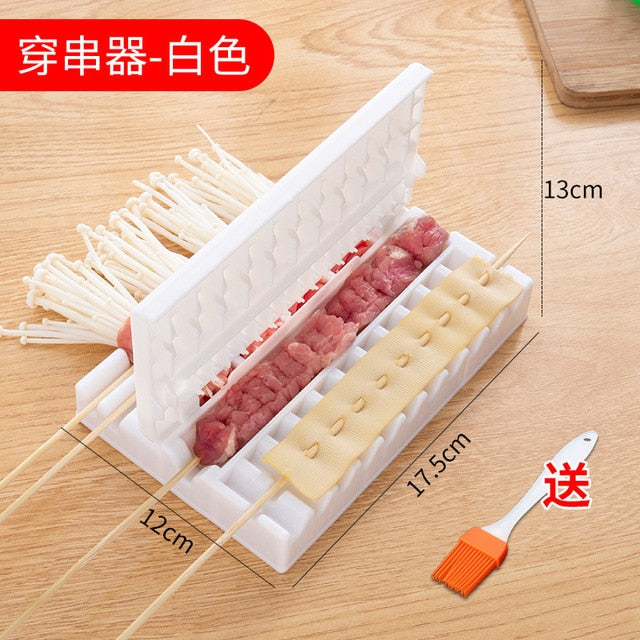 Barbecue Stringer Skewers Kebab Maker Box Machine Beef Meat Vegetable String Grill Barbecue Kitchen Accessories BBQ Gadget