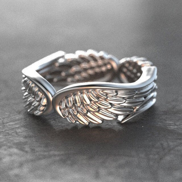 Unique creative retro feather wings geometric pattern jewelry ladies engagement wedding Valentine's day gift ring