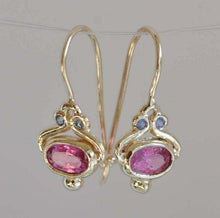 Load image into Gallery viewer, Unique S925  Gold Oval Pink Tourmaline Dangle Hook Earrings Women Jewelry Gifts