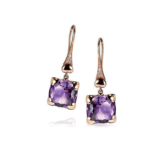 Luxury and delicate S925  love heart-shaped two-color purple geometric jewelry ladies engagement wedding gift earrings