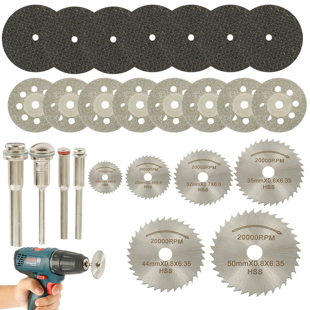 32pcs Circular Saw Blades Wood grass cutting machine Disc Woodworking Diamond Metal Dremel Drill Rotary Cutting Tool Power Tools Accessories