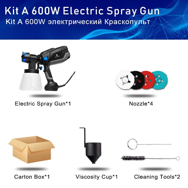 600W Spray Gun Paint Sprayer Electric 4 Nozzle Sizes HVLP Household 1000ml Flow Control Airbrush Easy Spraying by PROSTORMER