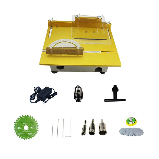 Upgrade Version Table Saw Mini Precision DIY Handmade Wood Working Crafts Lathe Polisher Drilling Machine Circuit Board Cutting