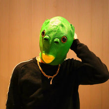 Load image into Gallery viewer, Reneecho Latex Mask Monster Fish Head Deluxe Rubber Demon Headgear Funny Green Fish Mask For Purim Party