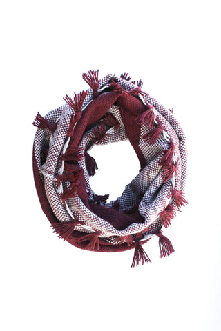 Ariana Scarf Burgundy + Soft Gray