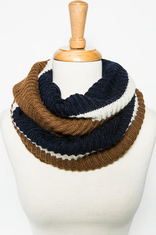 Fair Trade Becket Infinity Scarf Cafe Navy Cream