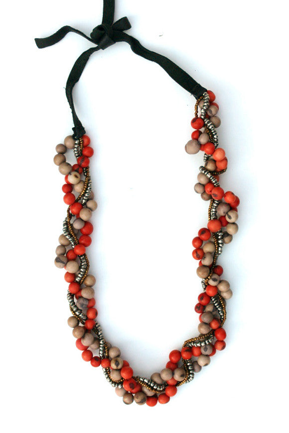Cora Necklace Pagoda Red/Mist Gray