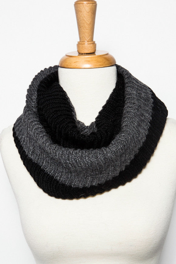 Fair Trade Chantal Infinity Scarf Black and Slate