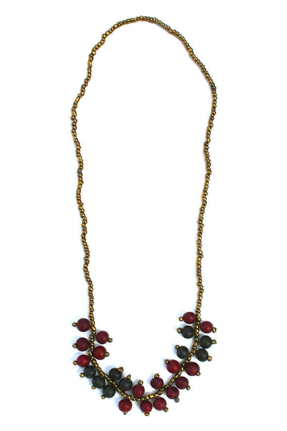 Elena Necklace Burgundy/Black