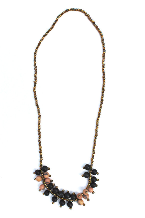 Elena Necklace Tan/Black