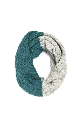 Fair Trade Alpaca Emma Cowl Scarf Gray + Teal
