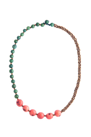 Fair Trade Graciella Necklace Blue + Red