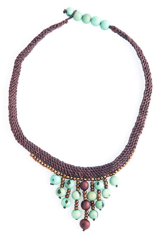 Fair Trade Acai Macrame La Paz Necklace Seafoam