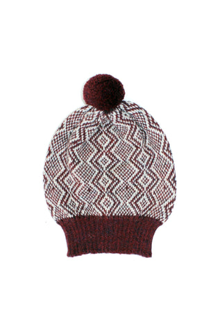 Holiday Hat Burgundy + Soft Gray