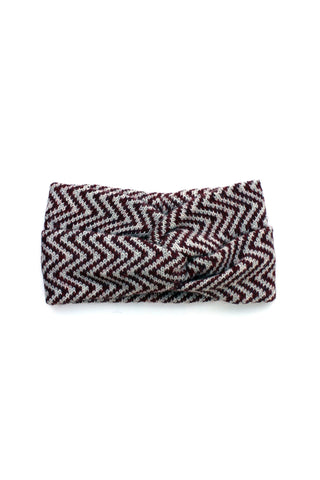 Ingrid Headband Burgundy + Soft Gray