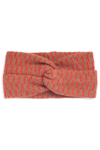 Ethical Alpaca Julia Headband Tan + Red