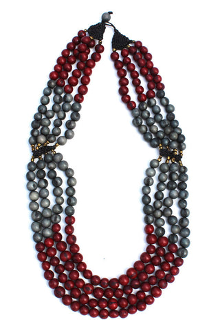 Mamani Necklace Burgundy/Gray