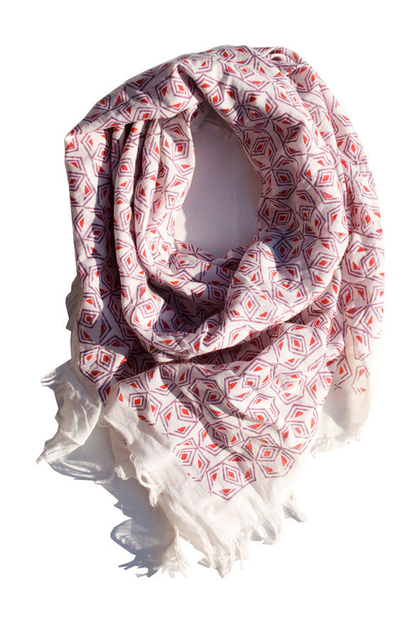 Fair Trade Blockprint Nanda Square Scarf